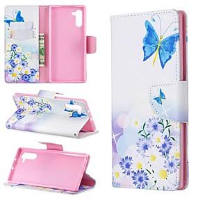 Недорогие Чехлы и кейсы для Galaxy Note 8-Кейс для Назначение SSamsung Galaxy Note 9 / Note 8 / Galaxy Note 10 Кошелек / Бумажник для карт / Защита от удара Чехол Бабочка Кожа PU