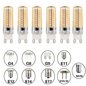 povoljno LED klipaste žarulje-6kom 5 W LED klipaste žarulje LED svjetla s dvije iglice 500 lm E14 G9 G4 T 80 LED zrnca SMD 3014 Zatamnjen New Design Toplo bijelo Bijela 220-240 V 110-120 V