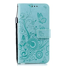 voordelige Galaxy J3(2017) Hoesjes / covers-hoesje Voor Samsung Galaxy J7 (2017) / J6 (2018) / J5 (2017) Portemonnee / Kaarthouder / Schokbestendig Volledig hoesje Effen / Vlinder PU-nahka