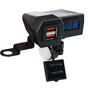 Недорогие Автомобильные зарядные устройства-5v 3.1a мотоцикл двойной usb зарядное устройство крепление руля зажим со светодиодным цифровым дисплеем для мобильных телефонов iphone samsung и xiaomi