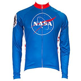 povoljno Oprema za sport i outdoor-21Grams American / USA NASA Muškarci Dugih rukava Biciklistička majica - Red+Blue Bicikl Majice UV otporan Prozračnost Ovlaživanje Sportski Zima Runo Terilen Brdski biciklizam biciklom na cesti Odjeća