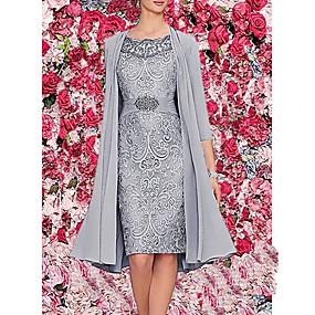 cheap Party Dresses-Women's Lace up Cocktail Party Elegant Lace Two Piece Dress - Solid Colored Print Burgundy Dark Blue Gray M L XL XXL