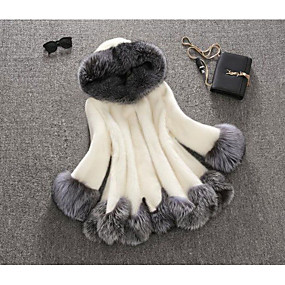 cheap Women's Furs & Leathers-Women's Daily Fall & Winter Regular Faux Fur Coat, Color Block Hooded Long Sleeve Faux Fur Fur Trim Black / White