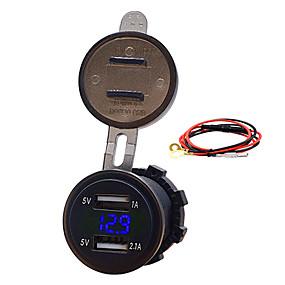Недорогие Автоэлектроника-12v автомобиль мотоцикл мобильный телефон автомобильное зарядное устройство двойной USB 3.1a зарядное устройство прикуривателя с линией моделей синий 3.1a двойной usb кабель вольтметр длина 60 см