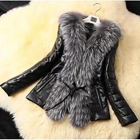 cheap Women's Furs & Leathers-Women's Daily Basic Regular Faux Fur Coat, Solid Colored Turndown Long Sleeve Faux Fur / PU Black