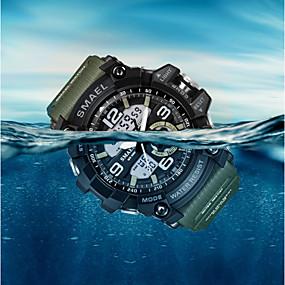 Недорогие Фирменные часы-SMAEL Муж. Спортивные часы Модные часы Нарядные часы Кварцевый Цифровой силиконовый Разноцветный 50 m Защита от влаги Будильник Календарь Аналого-цифровые / Два года / Ударопрочный / Хронометр