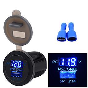 Недорогие Автомобильные зарядные устройства-12/24 В автомобиль мотоцикл лодка универсальный мобильный телефон зарядное устройство вольтметр 2 в 1 зарядное устройство USB