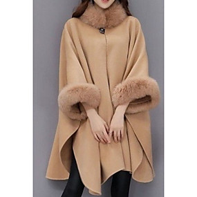 cheap Women's Coats & Trench Coats-Women's Party / Going out Street chic Fall & Winter Long Coat, Solid Colored Round Neck Long Sleeve Wool / Modal / Polyester Fur Trim Black / Camel / Gray / Sexy / Loose