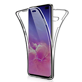 voordelige Galaxy S7 Hoesjes / covers-360 dubbele siliconen case voor Samsung Galaxy S10 Plus S10 E S10 S9 Plus S9 S8 Plus S8 S7 Edge S7 Note 9 Note 8 Note 10 Plus Note 10 Transparant Clear Soft TPU Case Cover
