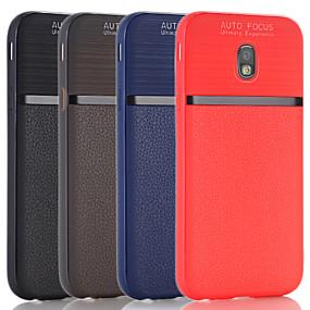 voordelige Galaxy J5(2017) Hoesjes / covers-hoesje Voor Samsung Galaxy J7 (2017) / J5 (2017) / J3 (2017) Schokbestendig Achterkant Effen PU-nahka