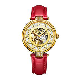 olcso Mechanikus óra-Női mechanikus Watch Automatikus önfelhúzós Műbőr Piros 30 m Vízálló Üreges gravírozás Analóg Alkalmi Divat - Arany Egy év Akkumulátor élettartama / Rozsdamentes acél