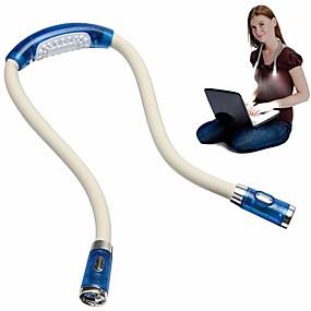 billiga Skrivbordslampor-handsfree kreativ nyhet flexibel nackljus läslampa justerbar flexibel led blixtljus för körning läsbok blå