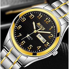 Недорогие Фирменные часы-BOSCK Муж. Нарядные часы Японский кварц Нержавеющая сталь Золотистый 30 m Защита от влаги Календарь Светящийся Аналоговый Классика На каждый день World Map Pattern -