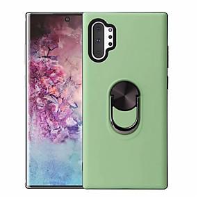 Недорогие Чехлы и кейсы для Galaxy Note 8-Кейс для Назначение SSamsung Galaxy Note 9 / Note 8 / Galaxy Note 10 Поворот на 360° / Кольца-держатели / Магнитный Кейс на заднюю панель Однотонный ТПУ / ПК / Металл
