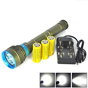 olcso Zseblámpák-LED zseblámpák Búvárlámpa Vízálló 10000 lm LED Sugárzók 3 világítás mód akkukkal és töltővel Vízálló Professzionális Ütésvédelem Viseletbiztos Kempingezés / Túrázás / Barlangászat Búvárkodás