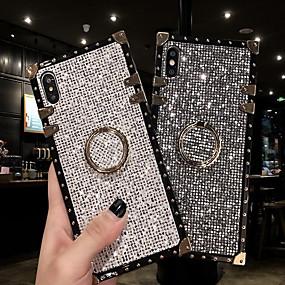 baratos Samsung Galaxy S10-caso para samsung galaxy s9 / s9 plus / s8 plus / s8 / s10 / s10 plus / s10e / nota 8 / nota 9 / m20 / m30 à prova de choque / anel titular tampa traseira glitter brilho metal