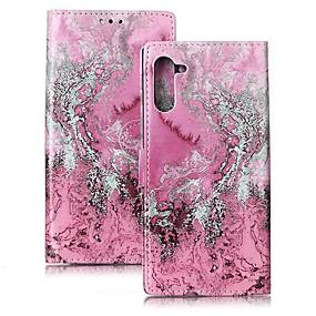 Недорогие Чехлы и кейсы для Galaxy Note 8-Кейс для Назначение SSamsung Galaxy Note 9 / Note 8 / Galaxy Note 10 Кошелек / Бумажник для карт / Защита от удара Чехол Мрамор Кожа PU