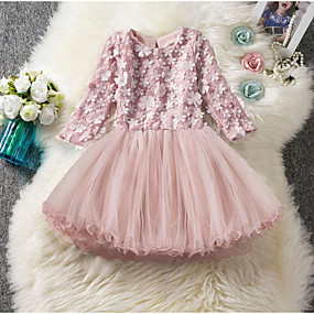 cheap Fashion Trends-Kids Girls' Solid Colored Knee-length Dress Blushing Pink