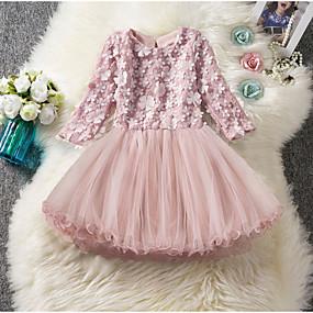 povoljno New Year 2020-Djeca Djevojčice Jednobojni Do koljena Haljina Blushing Pink