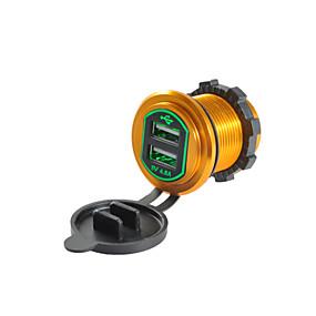 Недорогие Автомобильные зарядные устройства-5v 4.8a автомобильное зарядное устройство двойной USB-порты выходного напряжения алюминиевого сплава для грузовика автомобиль мотоцикл внедорожник
