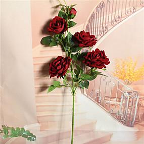 رخيصةأون أزهار اصطناعية-زهور اصطناعية 1 فرع فردي زهري أسلوب بسيط الورود أزهار الطاولة