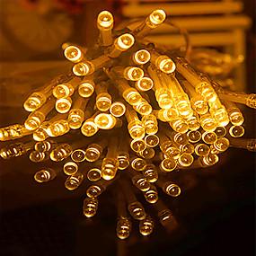 olcso LEDszalagfények-20 m Fényfüzérek 160 LED Meleg fehér / RGB / Fehér Kreatív / Új design / Parti Akkumulátorok 6db