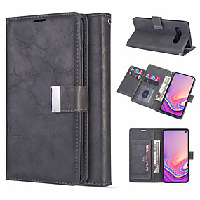 cheap Galaxy S7 Edge Cases / Covers-Leather Magnetic Flip Wallet Phone Case for Samsung Galaxy S10 Plus S10e S10 S9 Plus S9 S8 Plus S8 S7 Edge S7 Card Slot Holder Stand Case for Galaxy Note 10 Plus Note 10 Note 9 Note 8 Cover