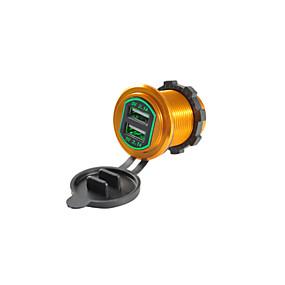 Недорогие Автоэлектроника-5v 4.2a автомобильное зарядное устройство двойной USB-порты алюминиевого сплава выходное напряжение для грузовика автомобиль мотоцикл внедорожник