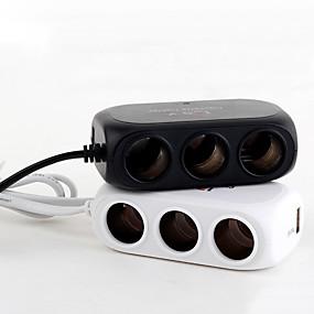 Недорогие Автоэлектроника-универсальный автомобиль 3 розетки 120 Вт 5 В авто разветвитель прикуривателя 2 порта USB зарядное устройство адаптер модели черный