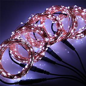 olcso LEDszalagfények-50m Fényfüzérek 500 LED Meleg fehér / RGB / Fehér Vízálló / Új design / Parti 12 V 5pcs