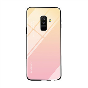 cheap Galaxy A8 Cases / Covers-Case For Samsung Galaxy A6 (2018) / A9 / A8 Ultra-thin Back Cover Color Gradient Tempered Glass