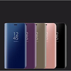 voordelige Galaxy S7 Edge Hoesjes / covers-hoesje Voor Samsung Galaxy S9 / S9 Plus / S8 Plus met standaard / Spiegel Volledig hoesje Effen PU-nahka / PC