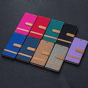 Недорогие Чехлы и кейсы для Galaxy Note 8-Кейс для Назначение SSamsung Galaxy Note 9 / Note 8 / Galaxy Note 10 Кошелек / Бумажник для карт / Защита от удара Чехол Плитка Кожа PU