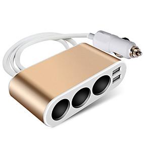 voordelige Auto-elektronica-auto sigarettenaansteker stopcontact splitter lader metalen lader stroomadapter modellen upgrade metalen 3-gaats goud