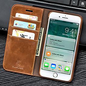 voordelige iPhone 11 Pro Max hoesjes-hoesje Voor Apple iPhone 8 Plus / iPhone 8 / iPhone 7 Plus Portemonnee / Kaarthouder / met standaard Volledig hoesje Effen PU-nahka