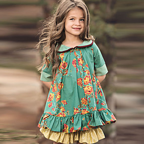 cheap New Year 2020-Kids Girls' Cute Floral Half Sleeve Knee-length Dress Green / Cotton