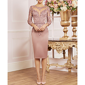 cheap The Wedding Store-Sheath / Column Bateau Neck Knee Length Lace / Satin 3/4 Length Sleeve Plus Size / Elegant Mother of the Bride Dress with Ruffles 2020