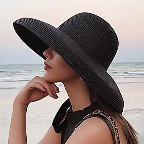 cheap Women's Accessories-Women's Straw Hat Sun Hat Straw Active Basic Cute - Color Block Summer Fall White Black Khaki