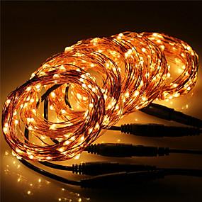 olcso Otthon & kert-10 m Fényfüzérek 100 LED Meleg fehér / RGB / Fehér Vízálló / Új design / Parti 12 V 5pcs