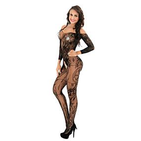 povoljno Ženska odjeća-Žene Čipka / Mrežica Bodysuits Noćno rublje Jednobojni / Cvjetni print Crn Obala Red One-Size