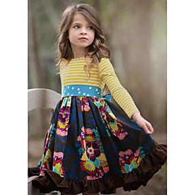cheap New Year 2020-Kids Girls' Cute Floral Long Sleeve Knee-length Dress Navy Blue / Cotton
