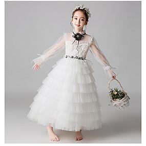 cheap Flower Girl Dresses-A-Line Long Length Flower Girl Dress - Tulle Long Sleeve High Neck with Beading / Appliques / Belt by LAN TING Express