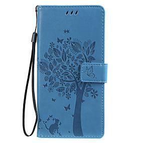 Недорогие Чехлы и кейсы для Galaxy Note 8-чехол для Samsung Galaxy Note 10 Galaxy Note 10 плюс телефон чехол искусственная кожа материал тиснением кошка и дерево шаблон сплошной цвет чехол для телефона