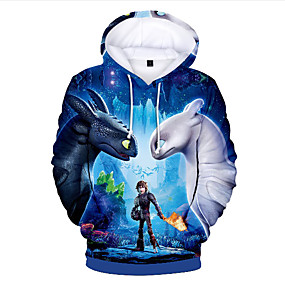 cheap Christmas Deals-Kids Toddler Boys' Basic Print Print Long Sleeve Hoodie & Sweatshirt Blue
