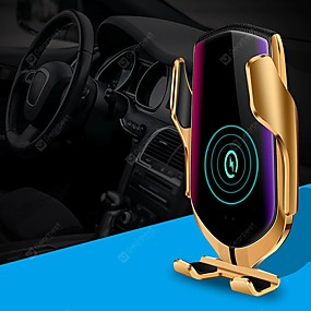 cheap Car Chargers-R1 Smart Automatic Clamping Qi Car Wireless Charger 10W Fast Charging 360 Rotation infrared Sensor Smart APP positioning Air Vent Mount Car Phone Holder for Iphone XR XS Huawei P30 Pro Xiaomi