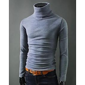 povoljno MEN SALE-Muškarci Jednobojni Dugih rukava Pullover Džemper od džempera, Dolčevita Crn / Lila-roza / Svijetlosiva US32 / UK32 / EU40 / US34 / UK34 / EU42 / US36 / UK36 / EU44