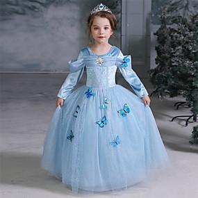 hesapli Cosplay ve Kostümler-Cinderella Peri Masalı / Bajka Prenses Elbiseler Çiçekçi Kız Elbisesi Genç Kız Film Kostümleri A-Line Alt Giyimi tatil elbisesi Cadılar Bayramı Mavi Elbise Cadılar Bayramı