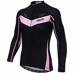 cheap Cycling Clothing-21Grams Women's Long Sleeve Cycling Jersey Winter Spandex Polyester Black Bike Jersey Top Mountain Bike MTB Road Bike Cycling Thermal / Warm UV Resistant Breathable Sports Clothing Apparel / Stretchy