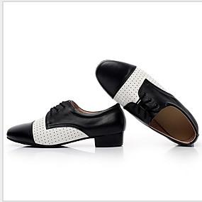 povoljno MEN SALE-Muškarci Plesne cipele Koža Cipele za jazz dance Ravne cipele Ravna potpetica Crn / Black / White