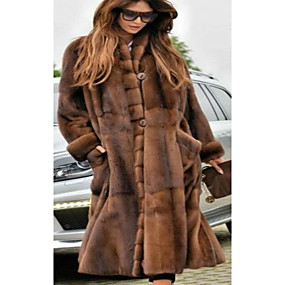 cheap Women's Furs & Leathers-Women's Party / Daily Basic Fall & Winter Long Faux Fur Coat, Solid Colored Stand Long Sleeve Faux Fur Brown / Oversized